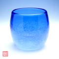 琉球ガラス泡ハーフタル型コップ青
