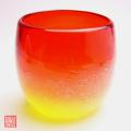琉球ガラス泡ハーフタル型コップ赤