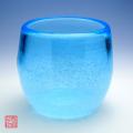 琉球ガラス泡ハーフタル型コップスカイ