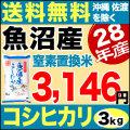 【窒素置換米】28年産新潟県魚沼産コシヒカリSFパック 3kg