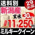 【新米】29年産新潟県産ミルキークイーン玄米 30kg【送料別】