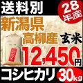 【地域限定】28年産新潟県高柳産コシヒカリ玄米 30kg【送料別】