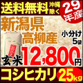 【地域限定】29年産新潟県高柳産コシヒカリ玄米 25kg