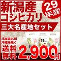 29年産三大新潟県産コシヒカリ 1kg×3袋【食べ比べセット】