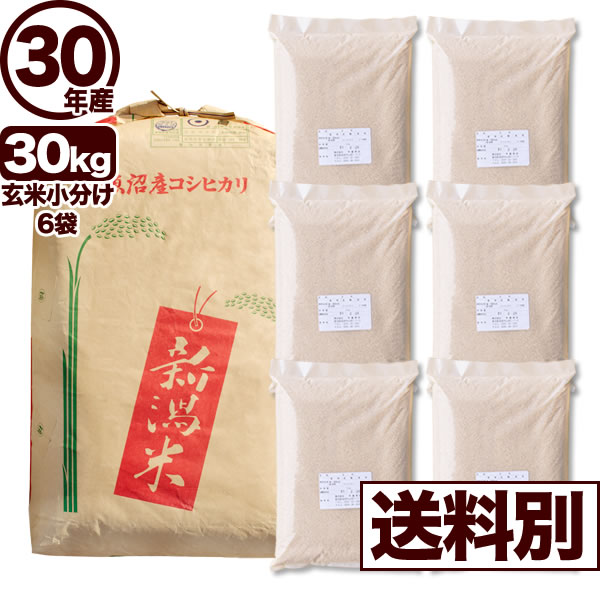 【地域限定】30年産新潟県南魚沼産コシヒカリ 30kg 小分け6袋【送料別】