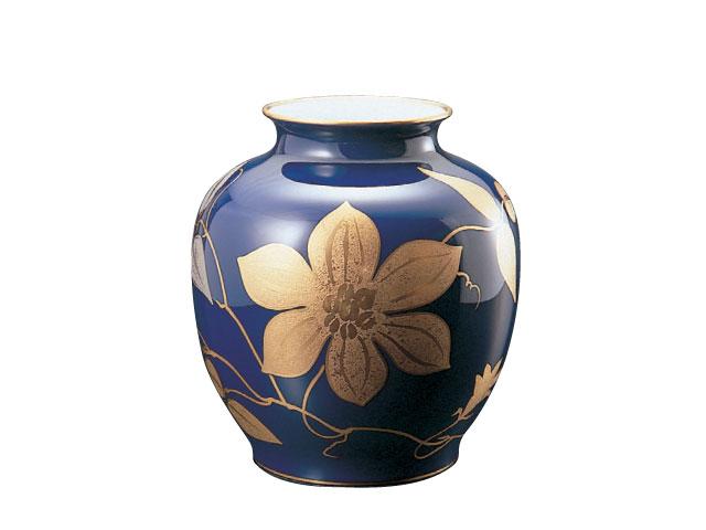 大倉陶園 「ルリ金蝕鉄線」花瓶 29cm