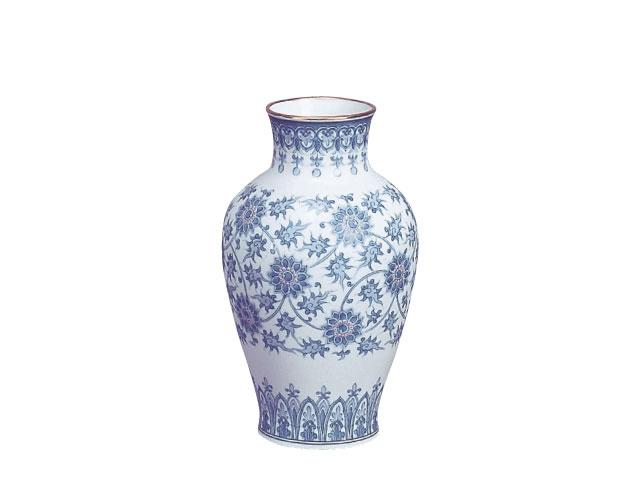 大倉陶園 「呉須更紗」花瓶 28cm