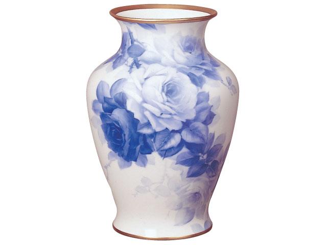 大倉陶園 「ブルーローズ」花瓶 45cm