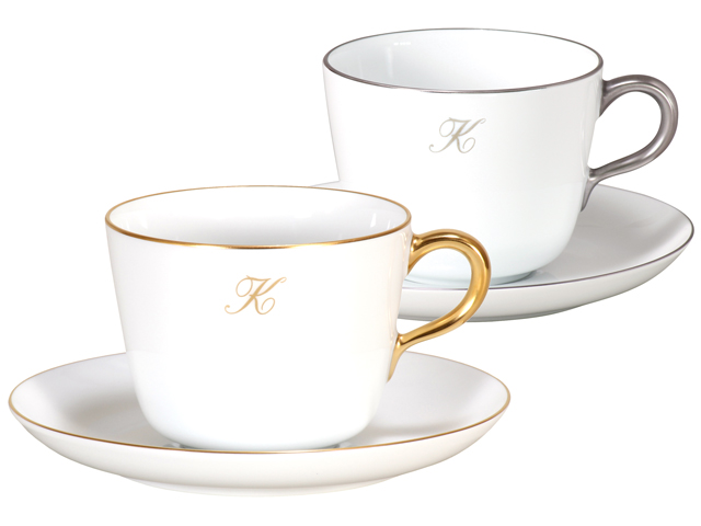 ゴールド&プラチナライン モーニングカップ&ソーサーペアセット【イニシャル1文字】