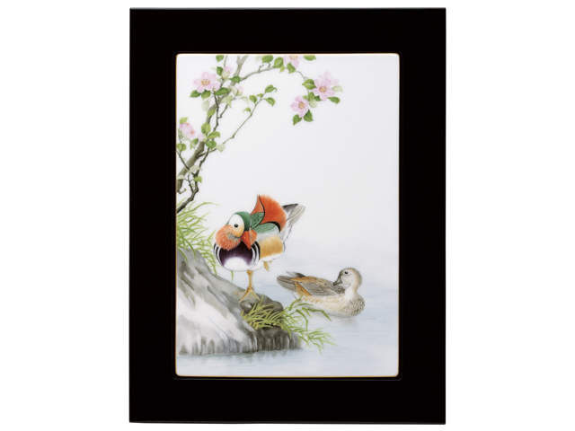 【手描き】百鳥画譜 オシドリと山茶花 陶額【100周年記念作品】