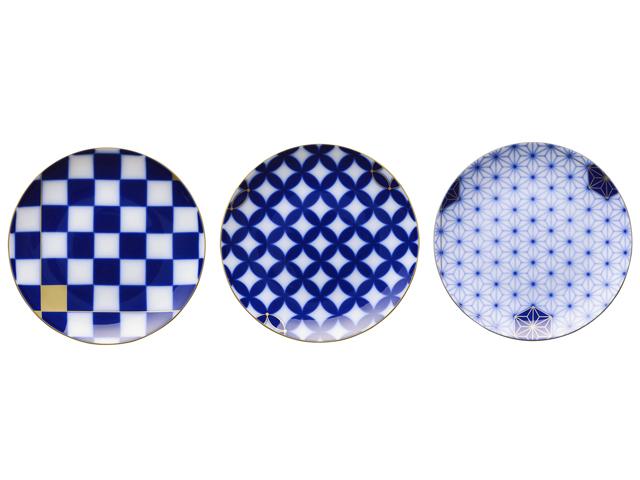 瑠璃伝統模様 中皿3枚組(絵替り)【100周年記念作品】