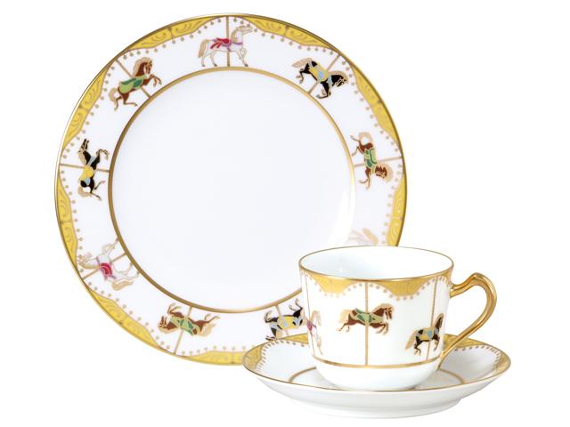 <直営店限定>うまくゆく 回転木馬 コーヒーカップ&ソーサー・20cmケーキ皿