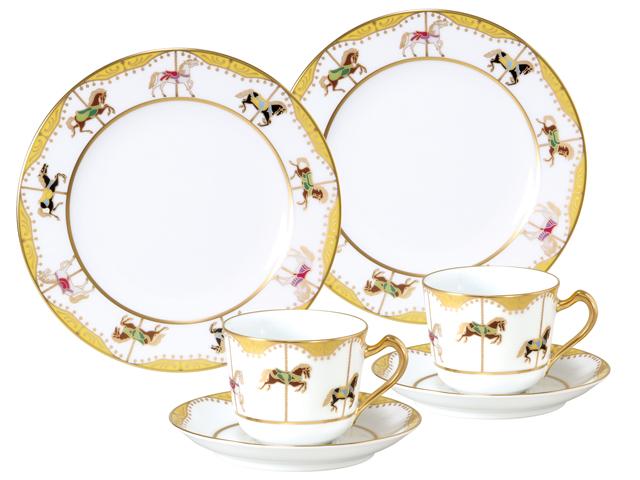 <直営店限定>うまくゆく 回転木馬 コーヒーカップ&ソーサー・20cmケーキ皿ペアセット