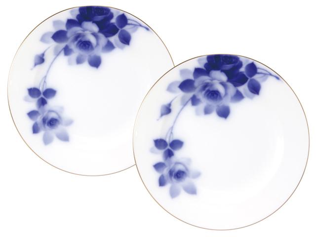 <直営店限定>ブルーローズ(8011)  20cmデザート皿ペアセット
