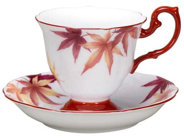 【手描き】碗皿暦 10月「紅葉」 カップ&ソーサー【100周年記念作品】
