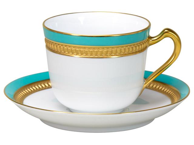 色蒔エンボス ライトブルー コーヒーカップ&ソーサー