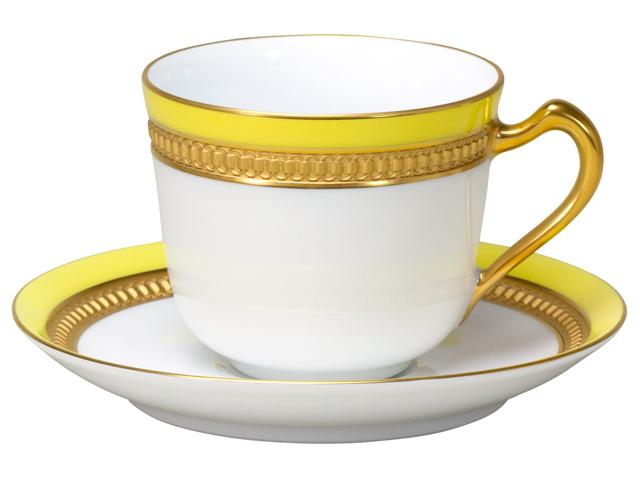 色蒔エンボス イエロー コーヒーカップ&ソーサー