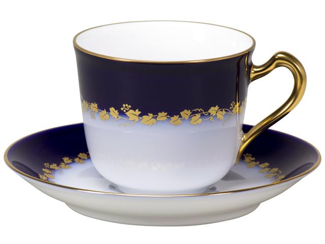 100周年カウントダウンコレクション第2弾 「瑠璃金彩蔦模様」 コーヒーカップ&ソーサー