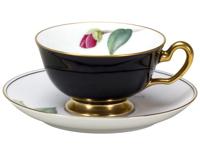 【手描き】碗皿暦 2月「黒侘助」 カップ&ソーサー【100周年記念・通常裏印・】