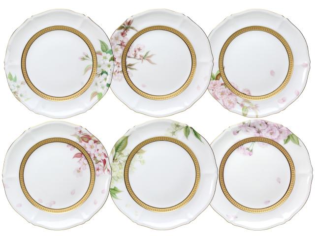 【手描き】日本の桜 21cmデザート皿揃(6枚絵替り)【100周年記念作品】