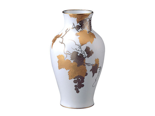 大倉陶園 「金蝕ぶどう」花瓶 36cm