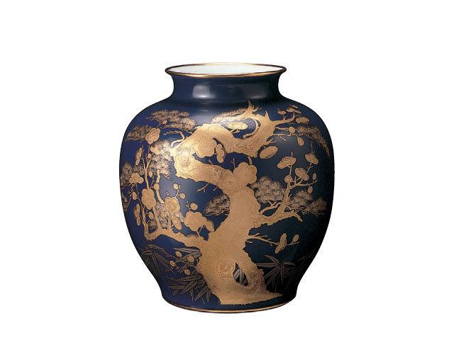大倉陶園 「ルリ金蝕梅」花瓶 29cm