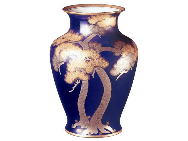 大倉陶園 「ルリ金白金蝕松」花瓶 45cm