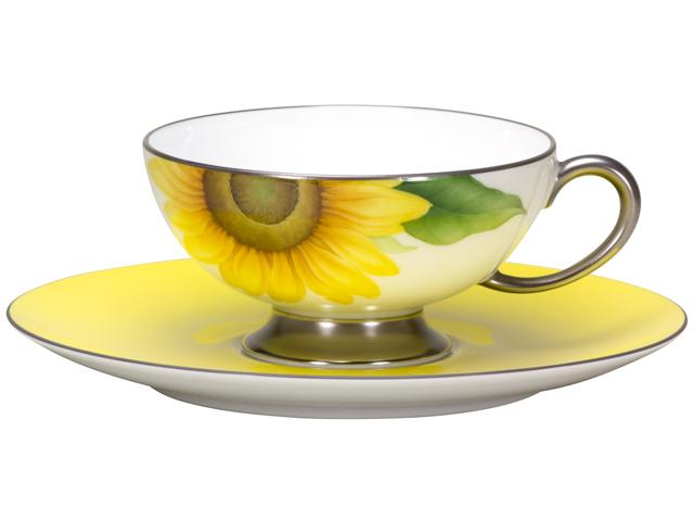 【手描き】碗皿暦 8月「向日葵」 カップ&ソーサー【100周年記念・通常裏印】
