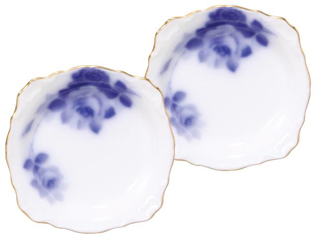 <直営店限定>ブルーローズ(8011) 10cmレリーフ小皿ペアセット
