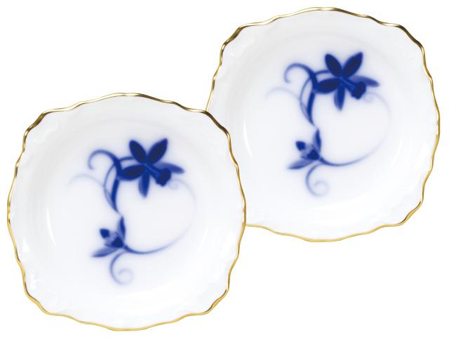 <直営店限定>ブルーカトレア 10cmレリーフ小皿ペアセット
