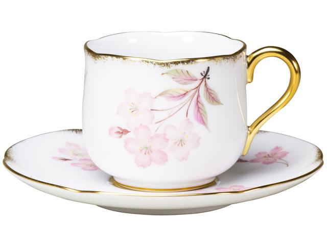 <直営店限定>【手描き】桜 デミタスカップ&ソーサー