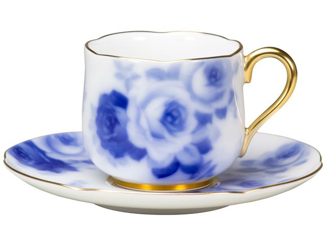 <直営店限定>【手描き】ブルーローズ デミタスカップ&ソーサー