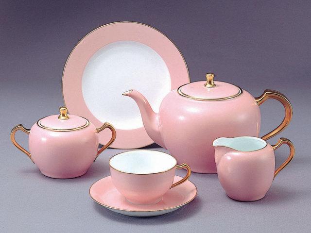 大倉陶園23ピース ティーセット・色蒔ピンク