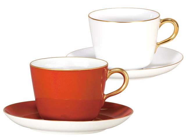 紅白 モーニングカップ&ソーサーペアセット