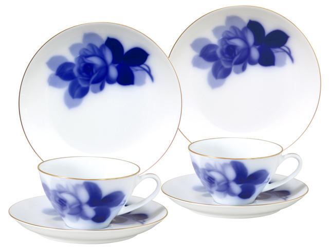 ブルーローズ8211 ペアカップ&ソーサー&19cmデザート皿(クープシェープ)