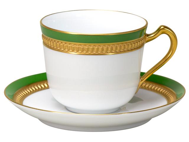 色蒔エンボス グリーン コーヒーカップ&ソーサー