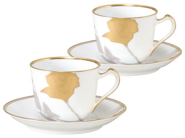 金蝕バラ コーヒーカップ&ソーサーペアセット