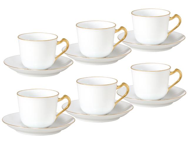 ゴールドライン(リムシェープ) コーヒーカップ&ソーサー6客箱