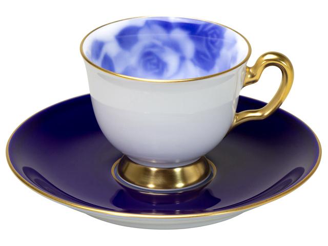 大倉陶園100周年記念ブルーローズ デミタスカップ&ソーサー