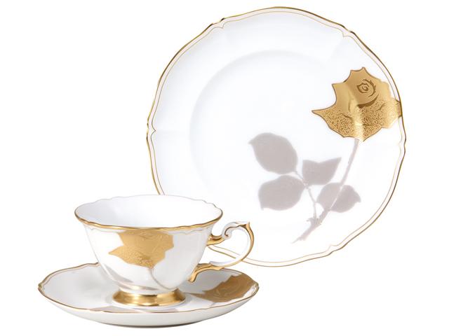 技法シリーズ「金蝕バラ」 カップ&ソーサー・21cmケーキ皿セット