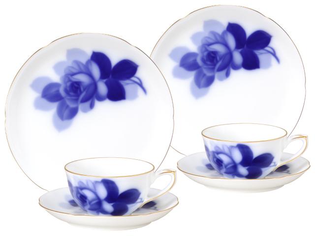ブルーローズ(8211) カップ&ソーサー・ケーキ皿ペアセット