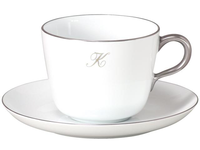 プラチナライン モーニングカップ&ソーサー【イニシャル1文字】