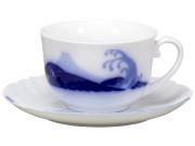 100周年カウントダウンコレクション第3弾 「岡染富士波」 モーニングカップ&ソーサー