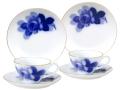 ブルーローズ8211 ペアカップ&ソーサー&20cmデザート皿(クープシェープ)