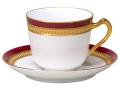 色蒔エンボス レッド コーヒーカップ&ソーサー