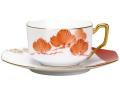 【手描き】碗皿暦 1月「朱松」 カップ&ソーサー【100周年記念作品】