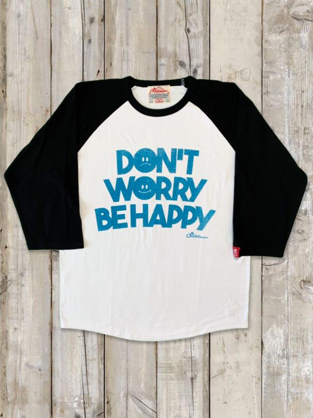 ラグラン7分袖Tシャツ(DON'T WORRY BE HAPPY)/ホワイト×ブラック
