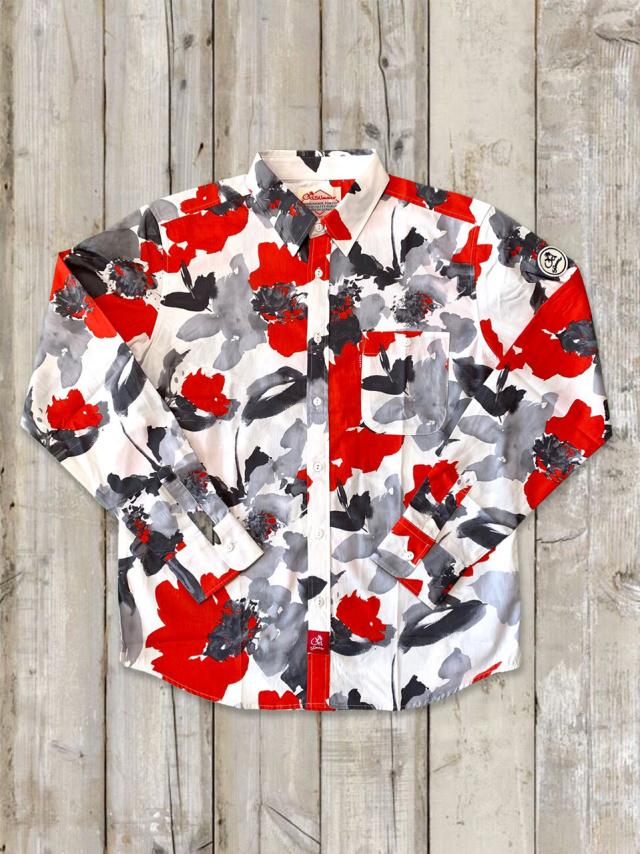アートペイントシャツ(赤黒グレー)