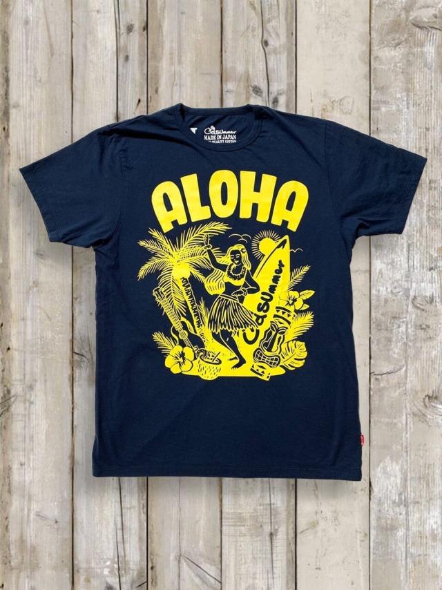 クルーネックTシャツ(ALOHA)/紺