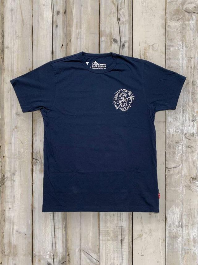 クルーネックTシャツ(OLDSUMMER BEACH)/紺